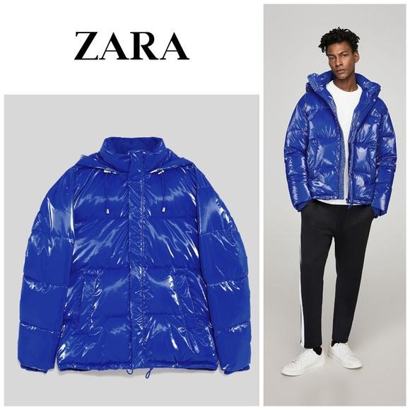 7f16a590c7 Zara Jackets & Coats | Nwt Man Blue Vinyl Effect Puffer Jacket ...